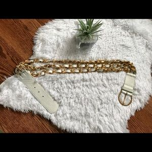 BeBe white leather & gold chain belt